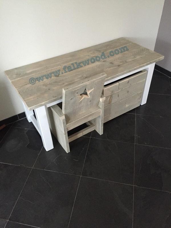 Extreem Kindertafel met stoel en opbergkist (Set Bram) - Falkwood OQ87
